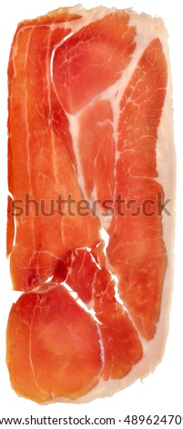 Prosciutto Cured Pork Ham Rasher Isolated On White Background