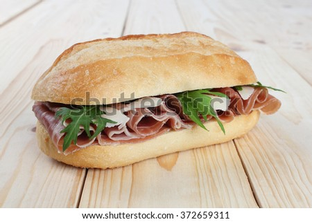 prosciutto sandwich - stock photo