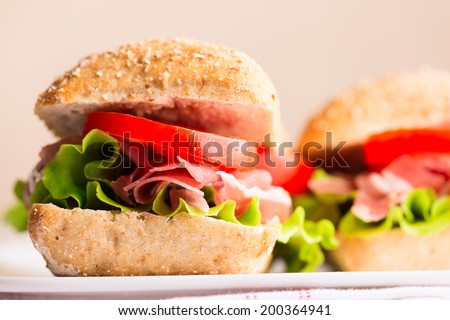 Prosciutto sandwich on plate close up. Selective focus, shallow DOF - stock photo