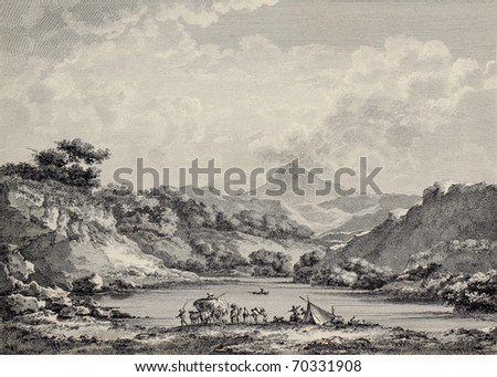Proserpina lake near Enna, Sicily. Created by Chatelet and Varin, published on Voyage Pittoresque de Naples et de Sicilie, by J. C. R. de Saint Non, Imprimerie de Clousier, Paris, 1786 - stock photo