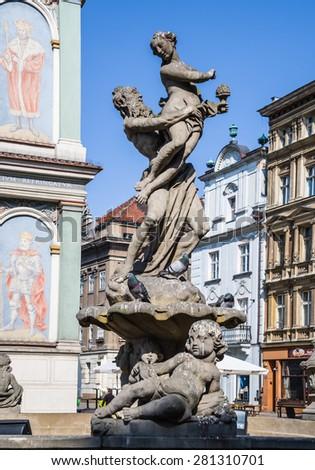 Proserpine Fountain by Augustyn Schops, Poznan, Poland, Market square - stock photo