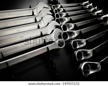 Prospect of some wrenches as a concept of tools - stock photo