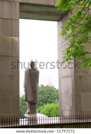 Prospect Terrace Park, Roger Williams statue - stock photo