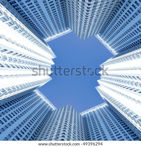 prospective view to new modern building skyscrapers of business center - stock photo