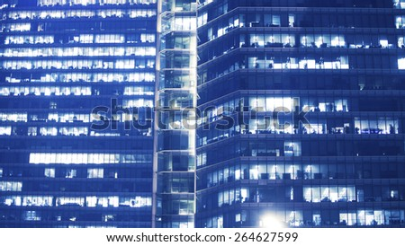 prospective view to new modern building skyscrapers of business center over white - stock photo