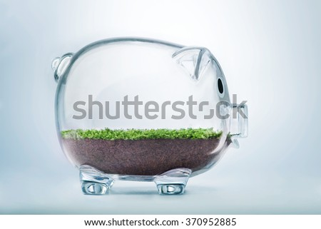 Prosperity concept with grass growing inside transparent piggy bank - stock photo