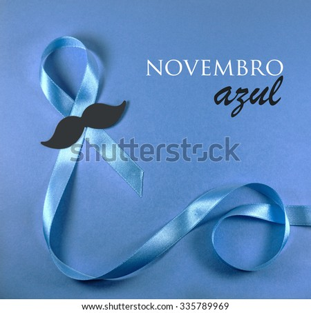 Prostate cancer blue ribbon awareness. Novembro Azul is Blue November in Portuguese language. - stock photo