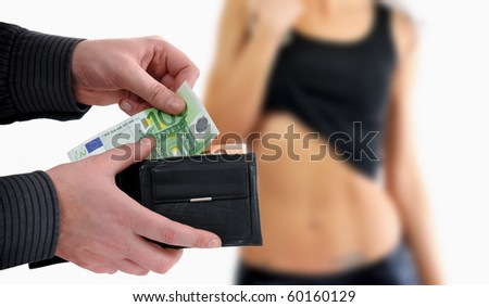 Prostitution concept. Man is paying for sex in euro banknotes