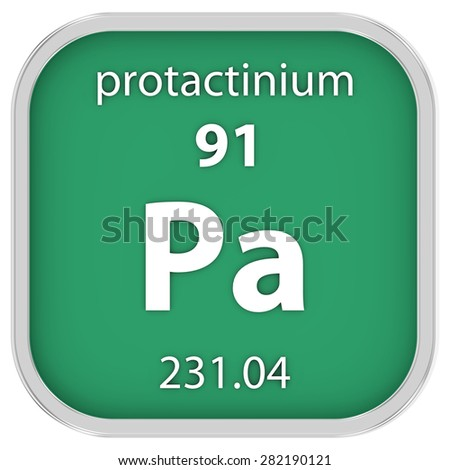 Protactinium material on the periodic table. Part of a series. - stock photo