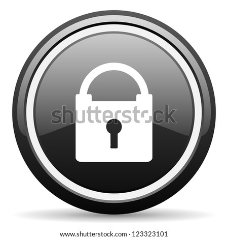 protect black glossy icon on white background - stock photo