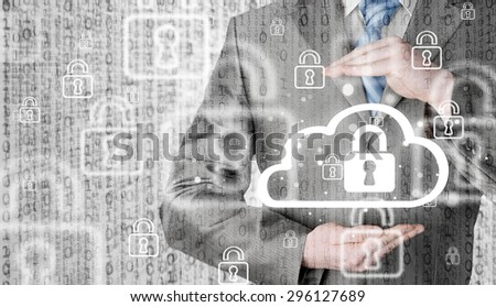 Protect cloud information data concept. Security and safety of cloud computing. - stock photo