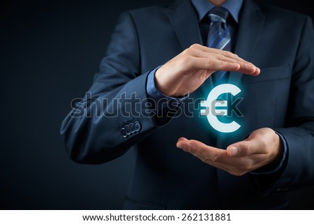 Protect company finances and tax optimization, company investment, represented by euro symbol.  - stock photo
