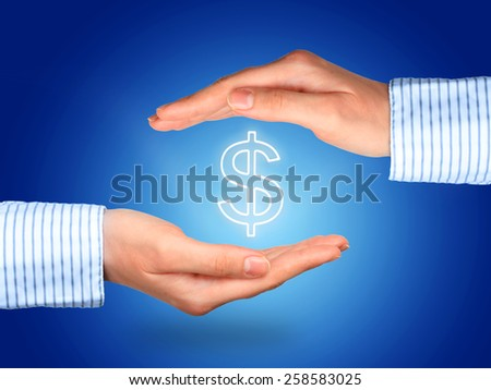 Protect money collage. Hands and dollar symbol. - stock photo