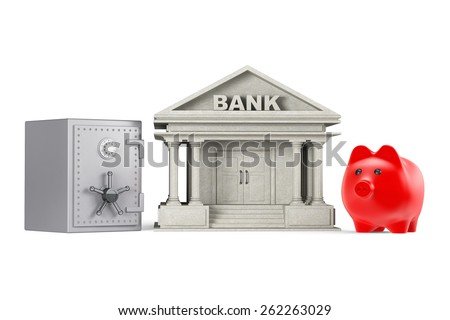 Protect Money Concept. Piggy Bank, Safe and Bank Building on a white background - stock photo