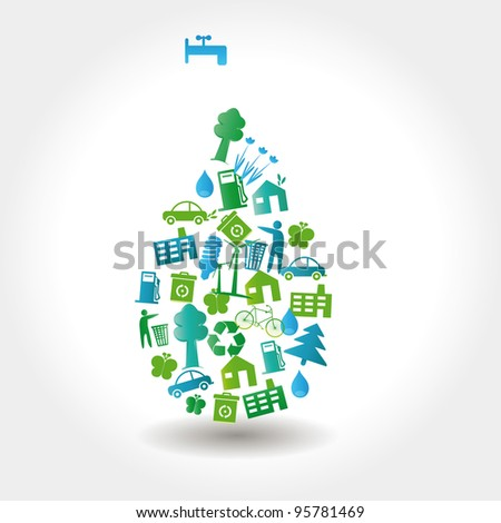 Protect the Earth: environment symbols on clean earth - stock photo