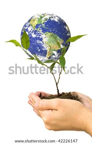 Protect the environment. Globe image courtesy of NASA - Visible Earth - stock photo
