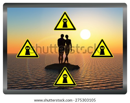 Protect you Online Images. Concept sign to make aware that private photos on the internet can be be misused - stock photo