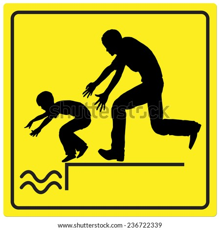 Protect your Child. Watch your child by the water, it is dangerous to leave him or her unattended  - stock photo