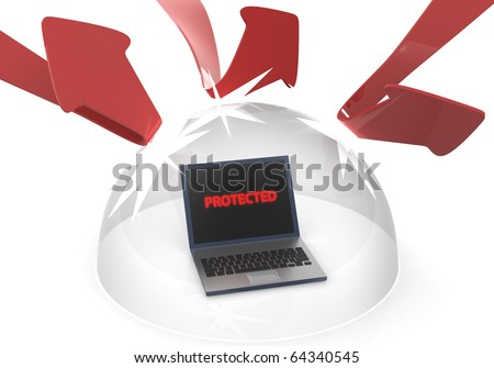 Protect your pc from attacks - stock photo