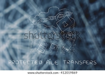protected file transfers: locked up cloud with different types of documents and binary code rain - stock photo