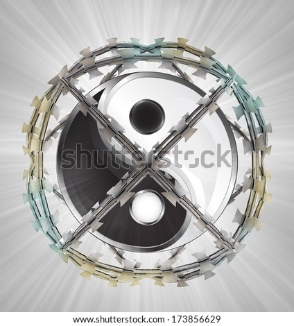 protected meditation in barbed sphere fence illustration