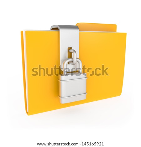 Protected Yellow Folder with lock isolated on white - 3d illustration - stock photo