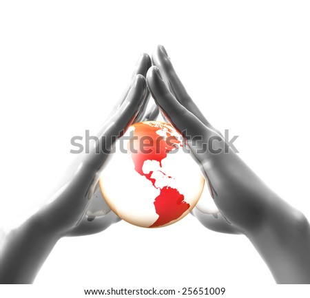 Protecting and sheltering the world - stock photo