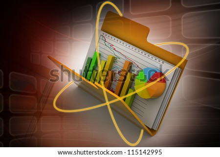 protecting Business graph and chart in folder - stock photo