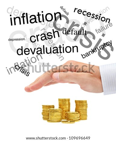 Protecting of your money. Conceptual business image - stock photo