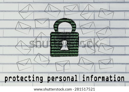 protecting personal information and encryption: lock with binary code texture surrounded by flying mails - stock photo