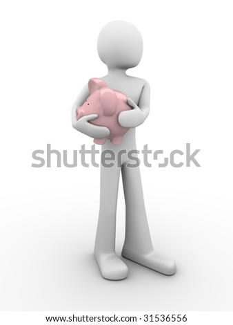 protecting savings (piggy-bank in hands) - stock photo