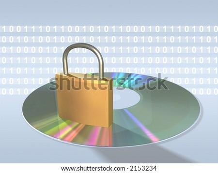 Protecting sensitive data. Keylock, cd and data stream. Digital illustration. - stock photo