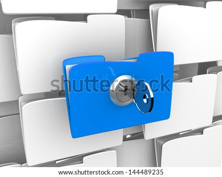 Protecting the Data, folder and lock. Computer folder with files and keys on a white background. 3d illustration. Business concept and security concept - stock photo