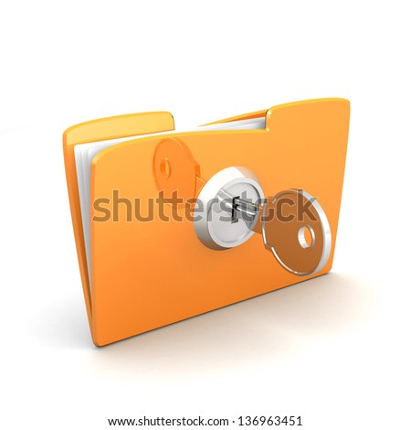 Protecting the Data, folder and lock. Yellow computer folder with files and keys on a white background. 3d illustration. Business concept and security concept