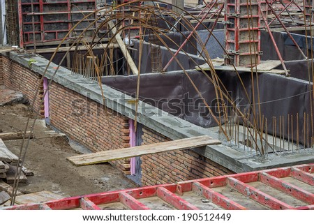 Protection and drainage of walls on a construction site. Insulation material on wall.