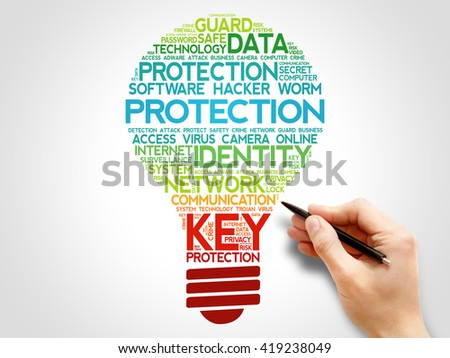 PROTECTION bulb word cloud, business concept - stock photo