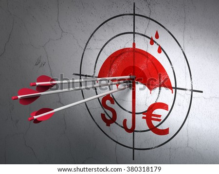 Protection concept: arrows in Money And Umbrella target on wall background - stock photo