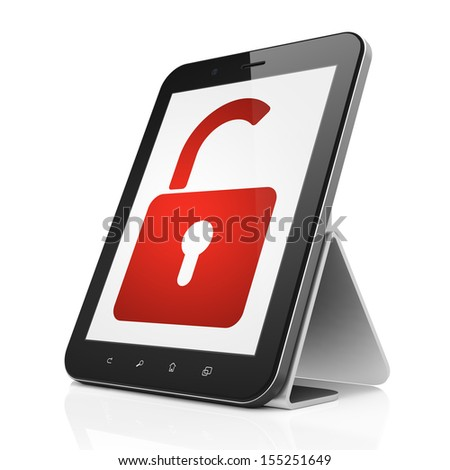 Protection concept: black tablet pc computer with Opened Padlock icon on display. Modern portable touch pad on White background, 3d render - stock photo