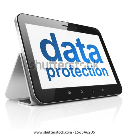 Protection concept: black tablet pc computer with text Data Protection on display. Modern portable touch pad on White background, 3d render - stock photo