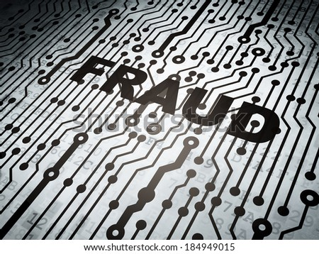 Protection concept: circuit board with  word Fraud, 3d render - stock photo