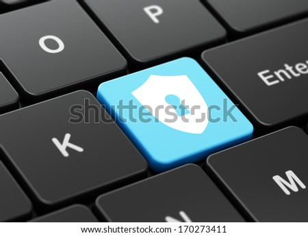 Protection concept: computer keyboard with Shield With Keyhole icon on enter button background, 3d render