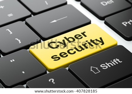 Protection concept: computer keyboard with word Cyber Security, selected focus on enter button background, 3D rendering - stock photo