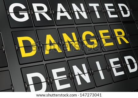 Protection concept: Danger on airport board background, 3d render - stock photo