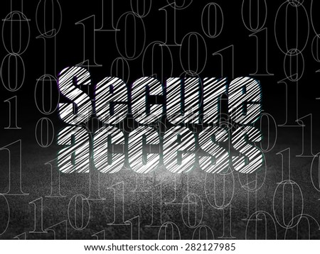 Protection concept: Glowing text Secure Access in grunge dark room with Dirty Floor, black background with  Binary Code, 3d render - stock photo