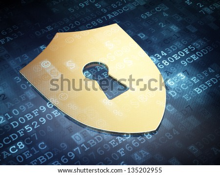 Protection concept: Gold Shield With Keyhole on digital background, 3d render - stock photo