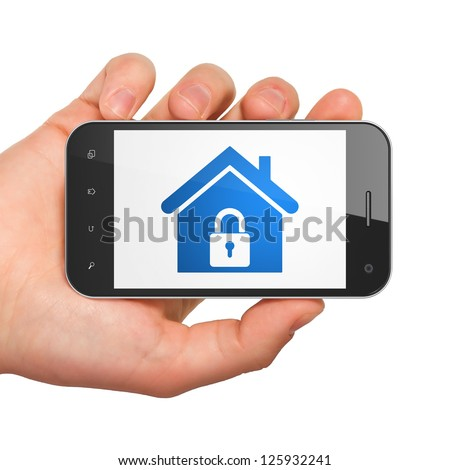 Protection concept: hand holding smartphone with Home on display. Generic mobile smart phone in hand on White background.