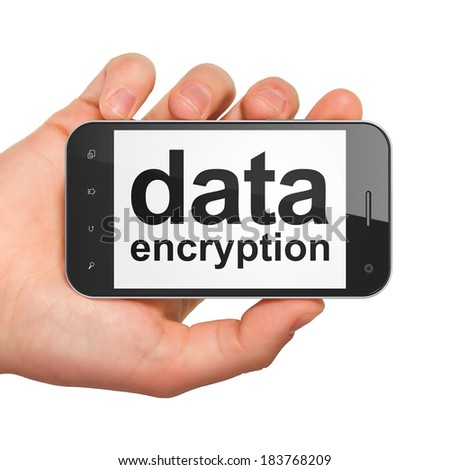 Protection concept: hand holding smartphone with word Data Encryption on display. Mobile smart phone on White background, 3d render - stock photo