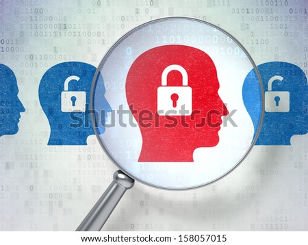 Protection concept: magnifying optical glass with Head Whis Padlock icons on digital background, 3d render