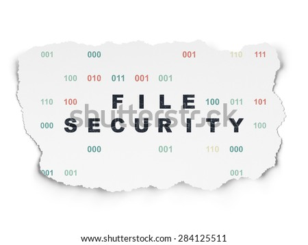 Protection concept: Painted black text File Security on Torn Paper background with  Binary Code, 3d render - stock photo