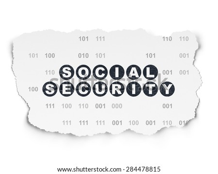 Protection concept: Painted black text Social Security on Torn Paper background with  Binary Code, 3d render - stock photo